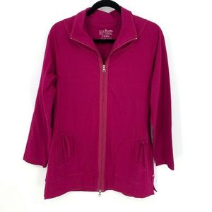 Neon Buddha Pink Full Zip Solid Cotton Jacket